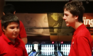 Alden (left) is shown with Michael during a visit to Main Event
