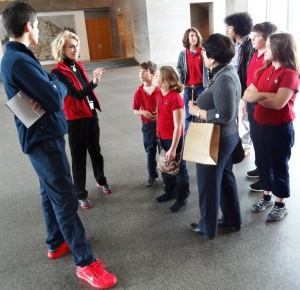 Our beautiful Docent guides us at the Modern. Notice Mason's new RED shoes!