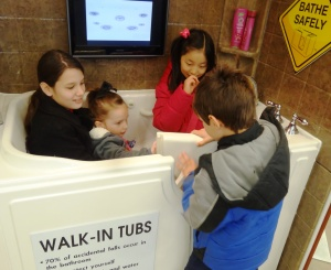 The tub proved to be a popular gathering spot.