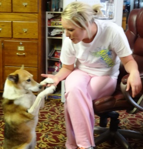 Our dog, Kirby, is now on our staff and greets people, teaches and mooches.