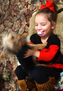 Kylie enjoys having her puppy with her.