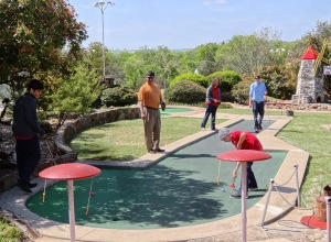 A good time was had by all playing Miniature Golf.