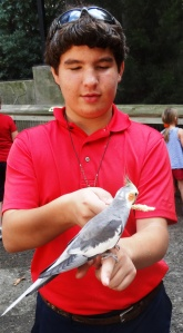 Alden showed us the finer points of befriending the feathered ones.