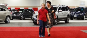 Mrs. A and Rylee looked at many new cars.