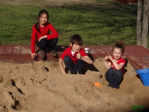 Sia, Ian and Kylee have enjoyed to good weather and the sand box.