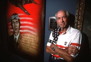 Scott in 1994 standing next to an oil painting of himself at the Museum of Aviation in Georgia. Brig. Gen. Robert L. Scott Jr. after his B-1 flight in 1997. (USAF photo) Retirement