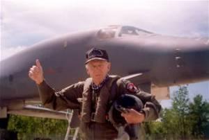 Brig. Gen. Robert L. Scott Jr. after his B-1 flight in 1997. (USAF photo)