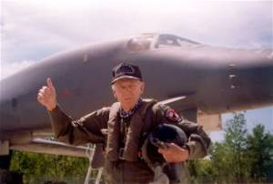Brig. Gen. Robert L. Scott Jr. after his B-1 flight in 1997. (USAF photo)